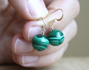 Malachite Earrings Dangle . Green Stone Earrings Gold . Malachite Drop Earrings NEW