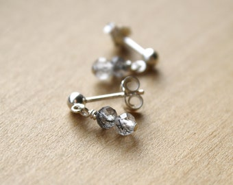 Tourmalinated Quartz Stud Earrings for an Energy Boost and Good Luck