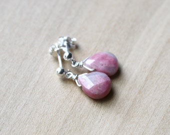 Rhodonite Studs for Emotional Balance and Self Love