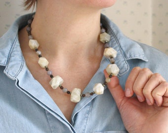 Natural Moonstone, Bronzite, Agate, and Pyrite Necklace for Stability and Calm