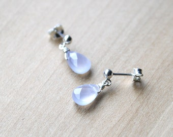 Natural Chalcedony Studs for Harmony and Relieving Self Doubt