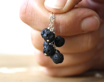 Lava Rock Oil Diffuser Necklace in Sterling Silver