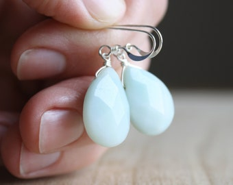 Natural Amazonite Earrings for Soothing Anxieties and Calming the Mind