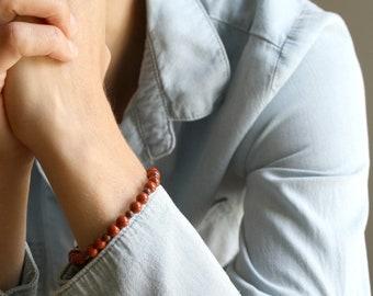 Red Jasper Stacking Bracelet for Grounding and Strength