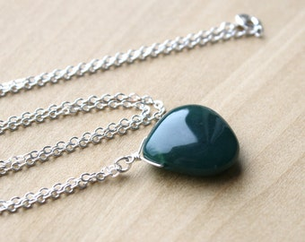 Moss Agate Necklace for New Beginnings and Abundance