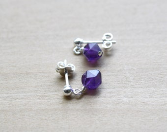 Natural Amethyst Earrings in Sterling Silver for Protection and Motivation