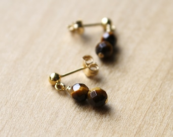 Tiger Eye Studs for Clarity of Intention and Overcoming Obstacles