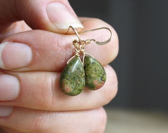 Unakite Earrings . Healing Stones for Patience and Emotional Strength