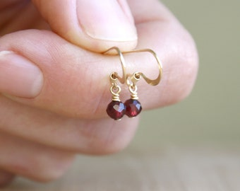 Genuine Garnet Lever Back Earrings for Courage and Hope