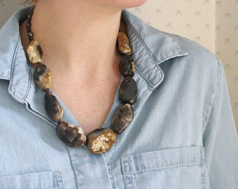 Natural Petrified Wood Necklace for Security through Change