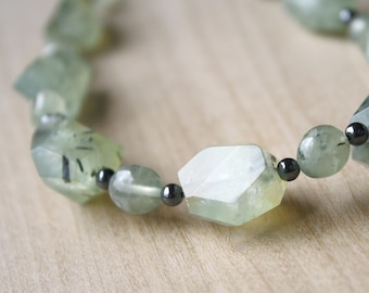 Natural Prehnite and Hematite Necklace for Inner Peace and Anxiety Relief