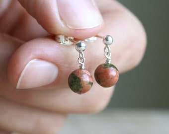 Unakite Studs for Emotional Resilience and Healing the Heart