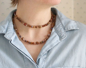 Natural Agate and Moonstone Necklace for Courage and Opening New Doors