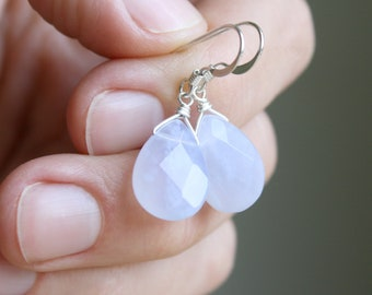 Natural Chalcedony Earrings for Anxiety Relief and Harmony