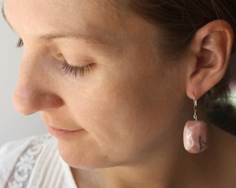 Pink Opal Earrings Silver . October Birthstone Jewelry