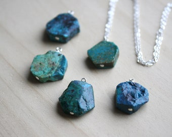Natural Chrysocolla Necklace in Sterling Silver for Courage and Acceptance