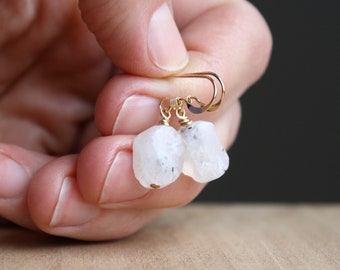 Raw Moonstone Earrings in 14k Gold Fill for Inner Growth and Inspiration