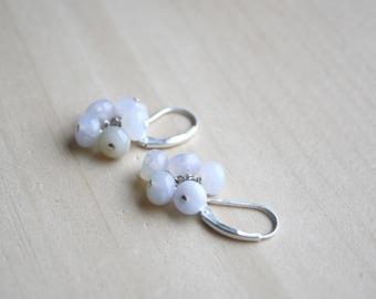 Blue Chalcedony Earrings in Sterling  Silver for Harmony