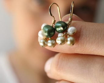 Green Pearl Earrings in 14k Gold Fill . June Birthstone Gift