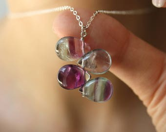 Rainbow Fluorite Crystal Necklace . Healing Stone for Concentration and Confidence