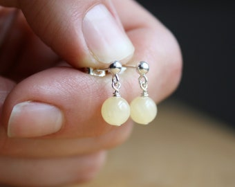 Calcite Stud Earrings in Sterling Silver for Positivity and Anxiety Relief
