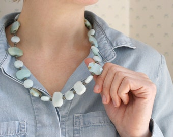 Natural Amazonite and Pyrite Necklace for Protection and Calm