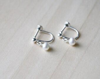 Freshwater Pearl Non Pierced Earrings in Sterling Silver