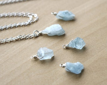 Raw Aquamarine Crystal Necklace for Harmony and Soothing Energy