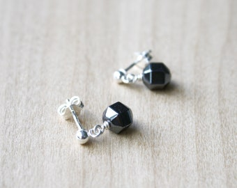 Hematite Stud Earrings in Sterling Silver for Dissolving Negativity and Enhancing Willpower