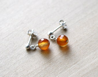 Natural Carnelian Studs for Motivation and Courage