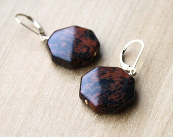Mahogany Obsidian Earrings in 14k Gold Fill for Strength and Protection