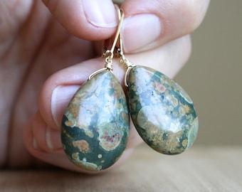 Green Stone Earrings Dangle . Rhyolite Earrings Gold Filled . Teardrop Earrings Gemstone Lever Back NEW