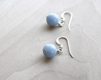 Angelite Earrings in Sterling Silver for Clear Communication and Calm