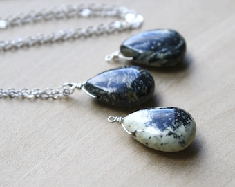 Natural Jasper Teardrop Necklace for Protection and Grounding