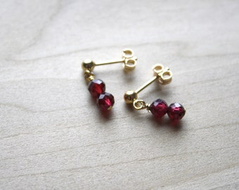 Genuine Garnet Earrings for Courage and Hope