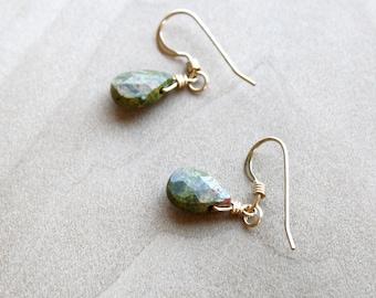 Handmade Unakite 925 sterling silver earrings Jasper earrings Everyday earrings. Green stone earrings