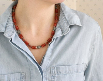 Carnelian, Red Jasper, and Pyrite Necklace for Strength and Protection