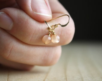 Peach Moonstone Earrings Gold for Good Fortune and Inner Growth NEW