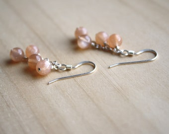 Peach Moonstone Earrings Dangle . New Beginnings Jewelry . Peach Gemstone Cascading Earrings NEW
