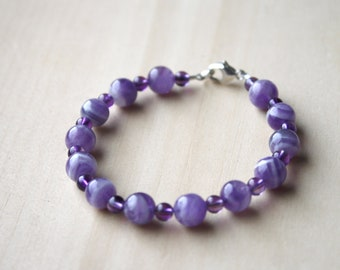 Chevron Amethyst Bracelet for Protection and Stress Relief