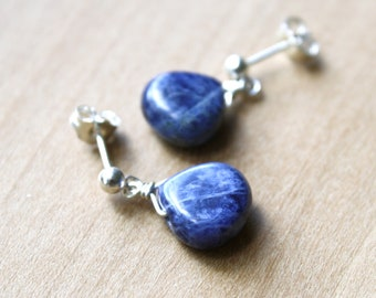 Sodalite Earrings in Sterling Silver for Uniting Logic and Intuition