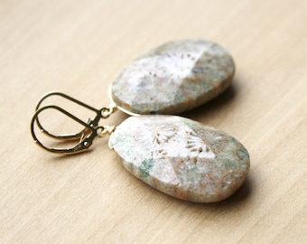 Fossilized Coral Earrings for Balance and Creativity