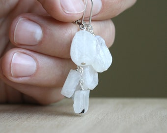Raw White Moonstone Earrings in Sterling Silver for Strength and Good Fortune NEW