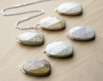 Fossilized Coral Necklace in Sterling Silver for Balance and Creativity