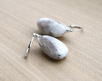 White Moonstone Earrings in Sterling Silver for New Beginnings and Good Fortune