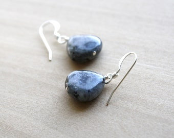 Larvikite Earrings in Sterling Silver for Confidence and Creativity