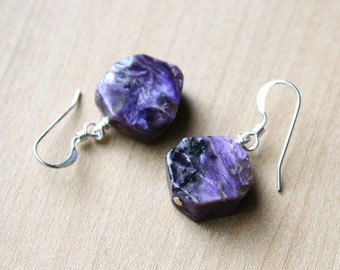 Charoite Earrings for Transformation and Emotional Healing