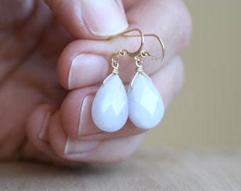 Natural Chalcedony Earrings in 14k Gold Fill for Anxiety Relief and Harmony