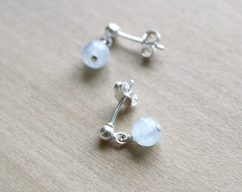 Natural Aquamarine Stud Earrings for Calm and Courage