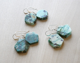 Natural Chrysocolla Earrings in Sterling Silver for Courage NEW